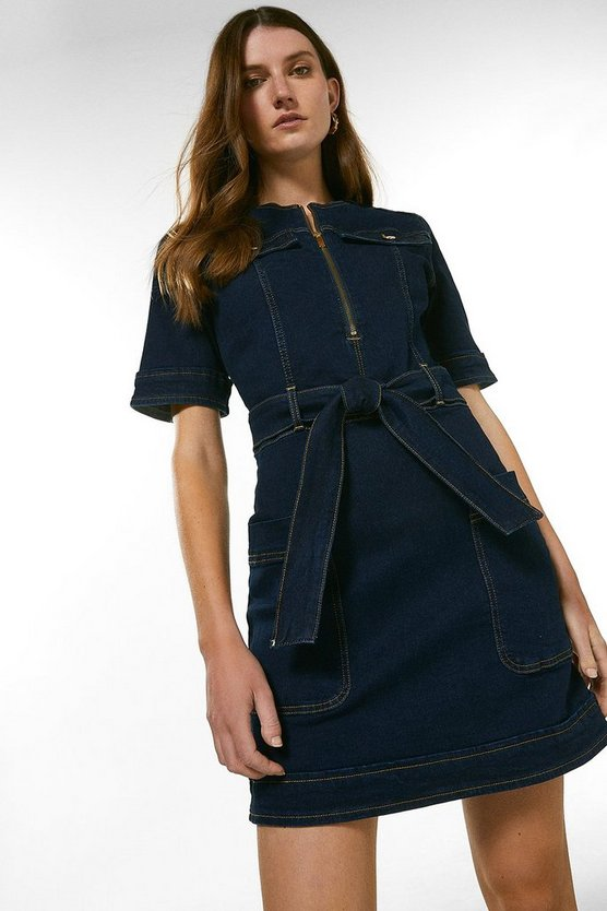 Dark indigo Belted Denim Shift Dress