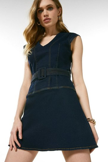 Dark indigo Seamed Denim Skater Dress