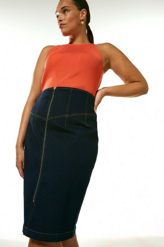 Indigo Curve Corset Seam Denim Pencil Skirt