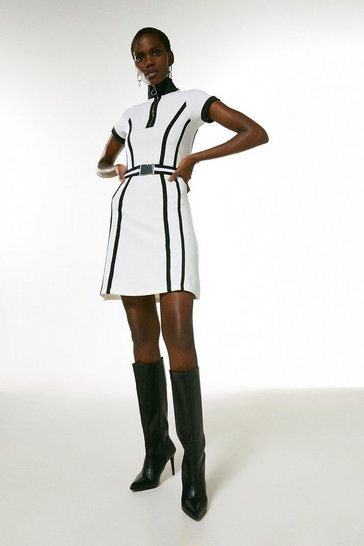 White Zip Neck Textured Jersey Belted Dress