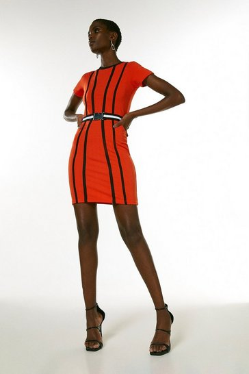 Coral Tipped Textured Jersey Belted Dress