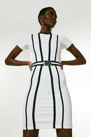 White Tipped Textured Jersey Belted Dress