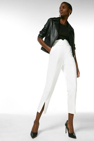 Ivory Compact Stretch High Waist Split Hem Trouser
