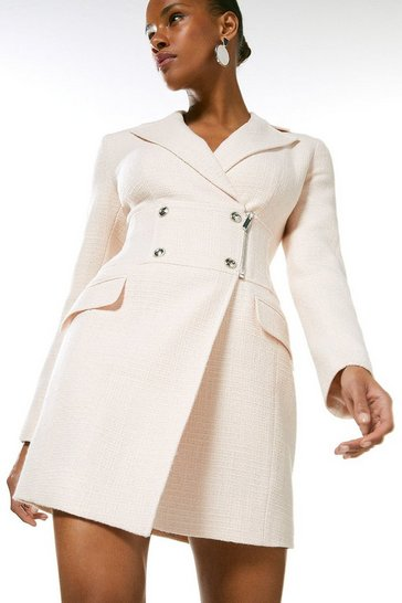 Blush Boucle Pu Contrast Blazer Dress
