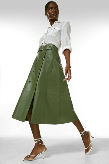 Green Leather Button Detail Belted Midi Skirt