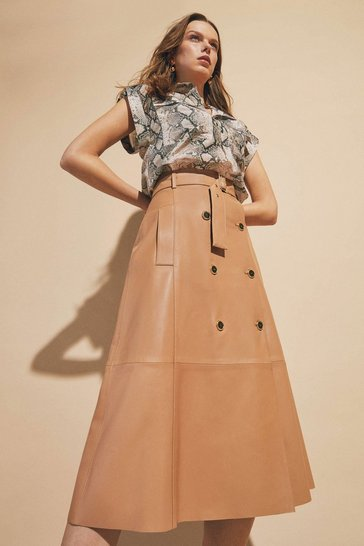Tan Leather Button Detail Belted Midi Skirt