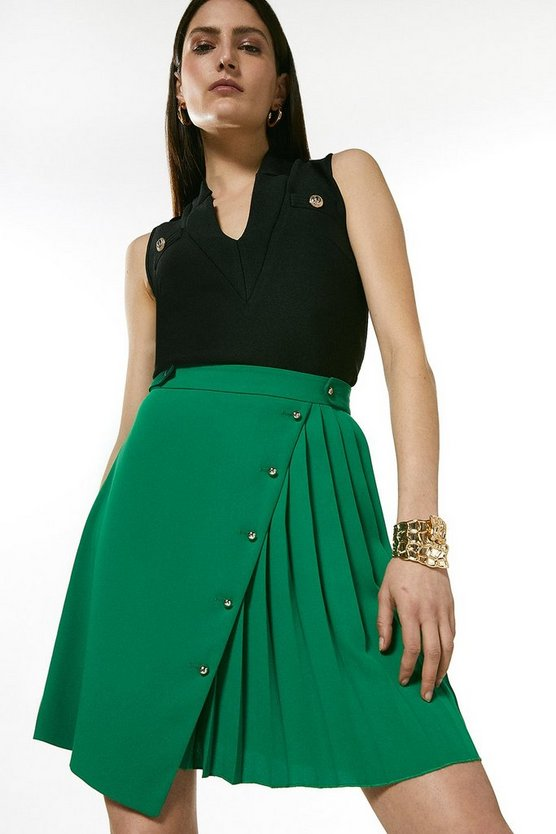 Green Pleated Detail A Line Skirt