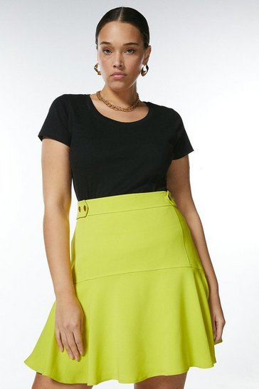 Black Curve Cotton Jersey Scoop Top