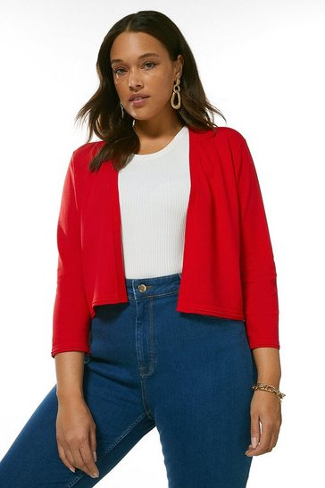 Red Curve Cropped Knit Bolero