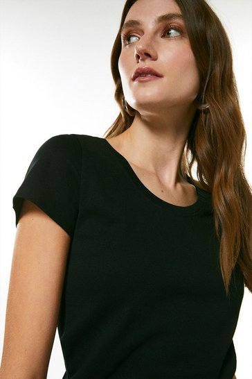 Black Cotton Jersey Scoop Top