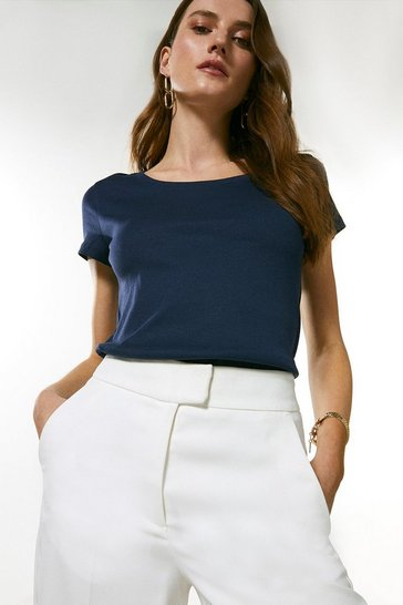 Navy Organic Cotton Jersey Scoop Top