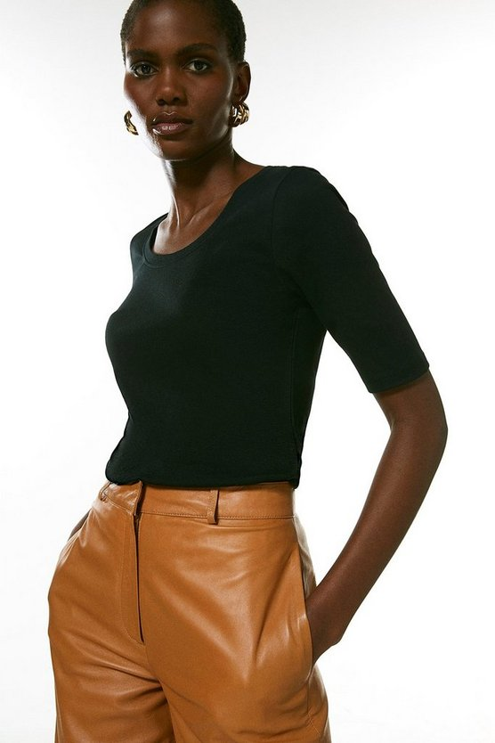 Black Organic Cotton Scoop Jersey Half Sleeve Top