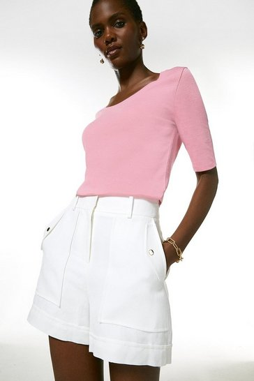 Pink Cotton Scoop Jersey Half Sleeve Top