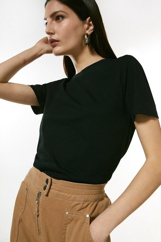 Black Organic Cotton Jersey Crew Jersey T-Shirt