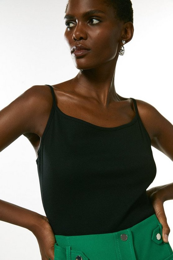 Black Cotton Jersey Cami Jersey Top