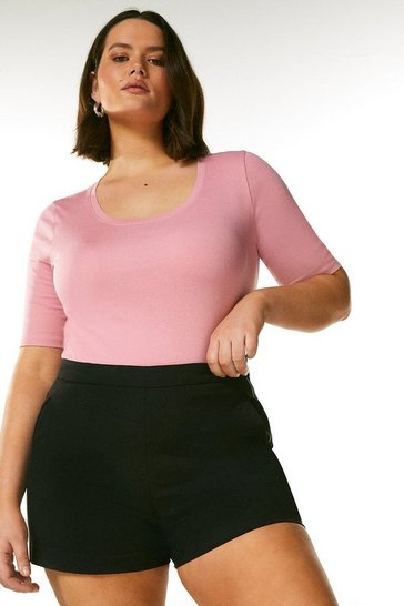 Pink Curve Organic Cotton Jersey Scoop Half Sleeve Top