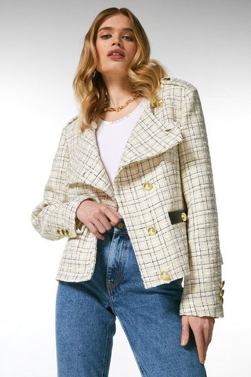 Cream Boucle Military Button Jacket