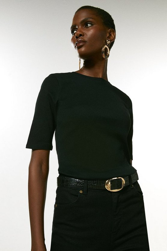 Black Cotton Jersey Crew Half Sleeve Top