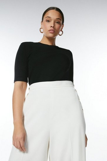 Black Curve Organic Cotton Jersey Crew Top
