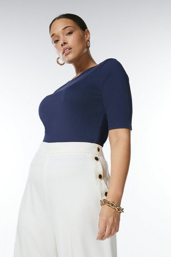 Navy Curve Cotton Jersey Crew Top