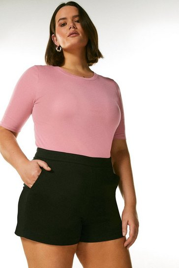 Pink Curve Cotton Jersey Crew Top