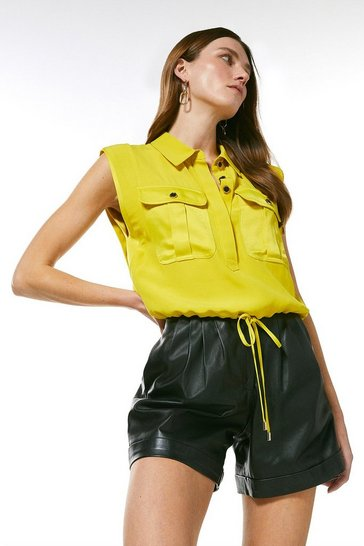 Lime Multistitch Matte And Shine Utility Top