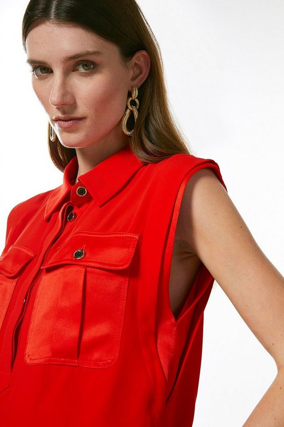 Red Multistitch Matte And Shine Utility Top