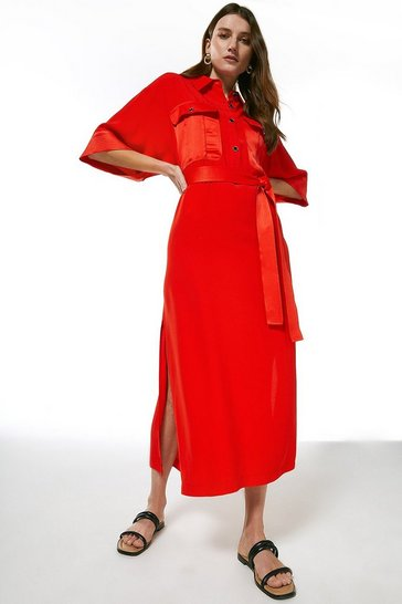 Red Multistitch Matte And Shine Maxi Dress