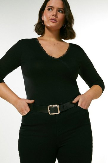 Black Curve Lace Essential Jersey Wrap Top