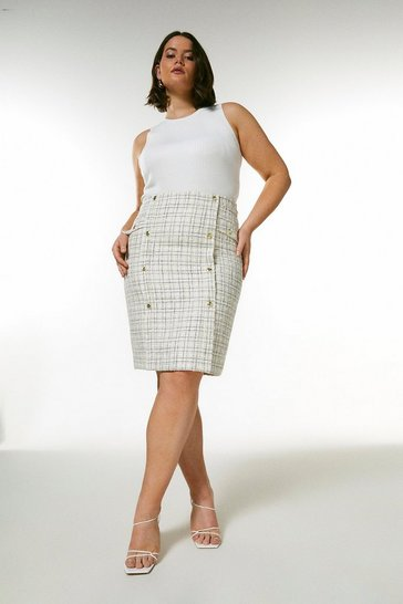 Cream Curve Boucle Military Button Pencil Skirt