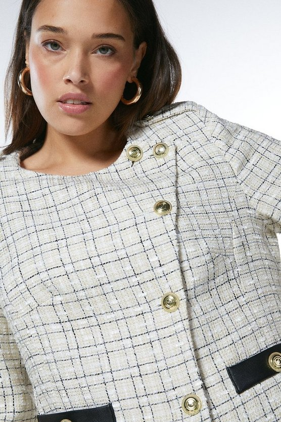 Cream Curve Boucle Military Button Jacket