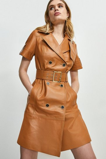 Cashew Leather Buttoned Trench Dress