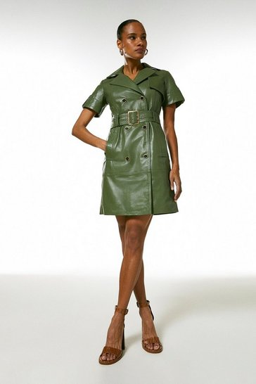 Green Leather Buttoned Trench Dress