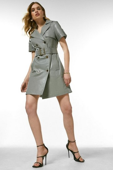 Grey Leather Buttoned Trench Dress