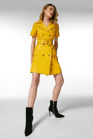 Mustard Leather Buttoned Trench Dress