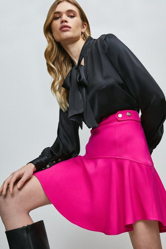 Hot pink Compact Stretch Viscose Flippy Hem Skirt