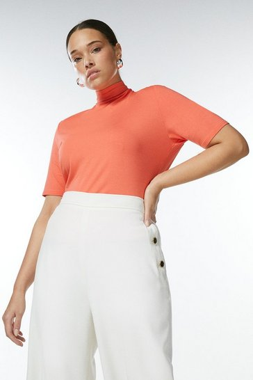 Coral Curve Half Sleeve Funnel Neck Jersey Top