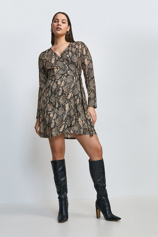 Curve Jersey Snake Tie Wrap Dress