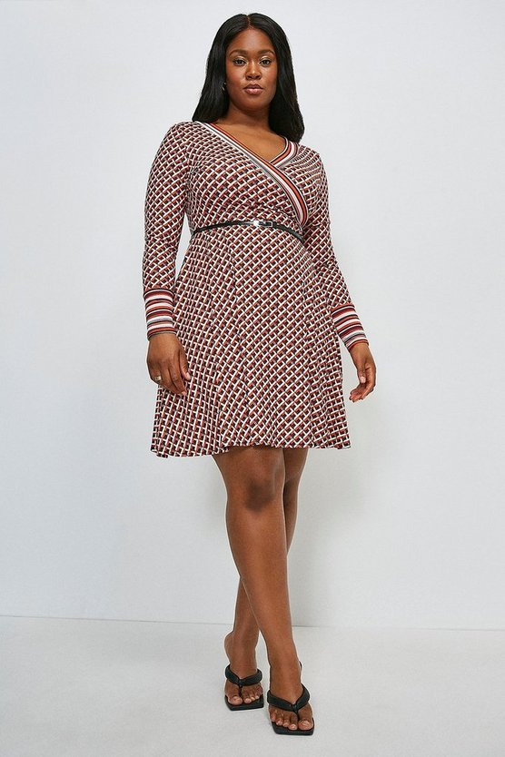 Red Curve Long Sleeve Wrap Km Logo Jersey Dress
