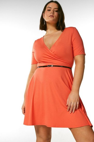 Coral Curve Half Sleeve Belted Jersey Wrap Dress