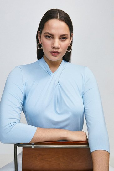 Dusty blue Curve Twist Neck Half Sleeve Jersey Top