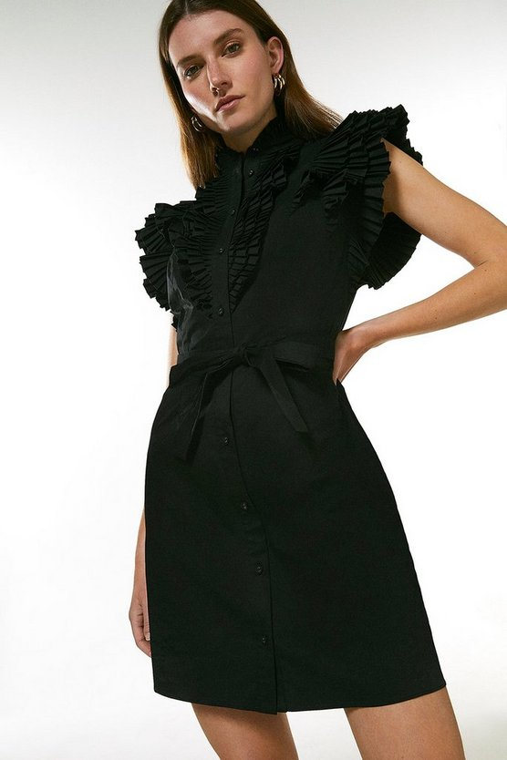 Black Pleat Ruffle Belted Shirt Dress
