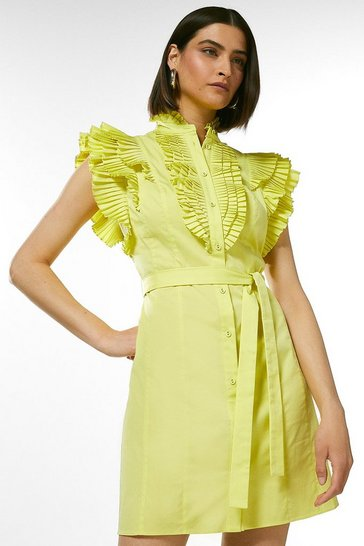 Lime Pleat Ruffle Belted Shirt Dress