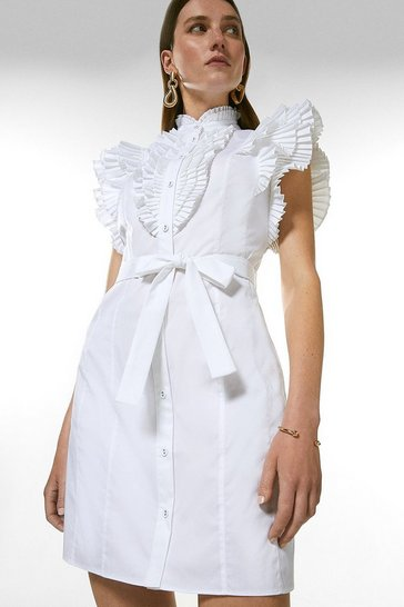 White Pleat Ruffle Belted Shirt Dress