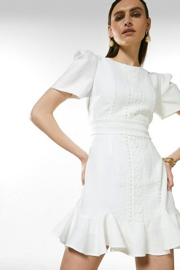White Cotton And Lace Trim Short Sleeved Dress