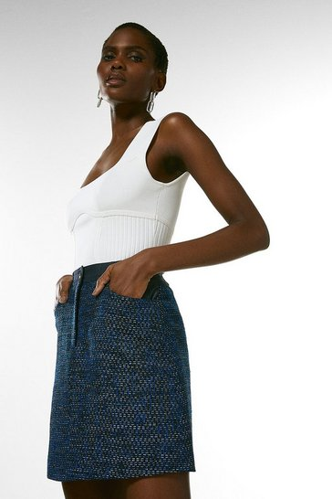 Blue Tweed Denim Mix A Line Skirt