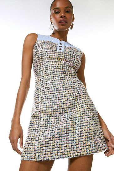 Multi Tweed Denim Mix A Line Dress