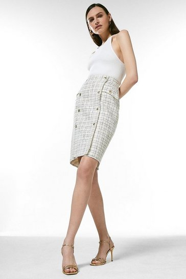 Cream Boucle Military Button Pencil Skirt