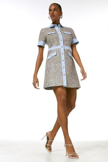Multi Tweed Denim Mix Button Dress