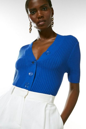 Cobalt Plunge Button Knitted Jumper